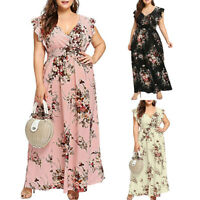 Women Plus Size Summer V Neck Floral Print Sleeveless Butterfly Party Maxi Dress