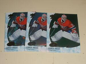 2019-20 Upper Deck Ice Hockey #2 Carey Price 3 Card Lot 1 Green 1 Ice Cube