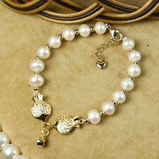 Bracelet Perle de Culture d`Eau Douce Deux Poisson Argent Massive 925 Class A18