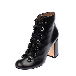 RRP €875 LAURENCE DACADE Leather Ankle Boots EU 41 UK 7 US 10 Heel Made in Italy