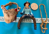 Lot of 3 Schleich Horse Rider Blonde Braids Girl Figure/ western saddle & Bridle