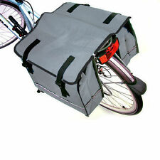 DOUBLE BICYCLE PANNIER BAG ( GREY ) REAR BIKE RACK CARRIER WATER RESISTANT
