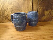 """Vintage Pair of Glazzed Pottery Barrel Mugs 4.25"""" tall Blue ADA clay pre 1960"""
