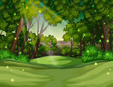 10x8ft Cartoon Design Green Hill and Tree Photo Background Vinyl Studio Backdrop