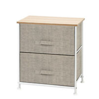 Bedroom Bedside Furniture 2 Drawers Nightstand Storage Wood End Table Fabric Box