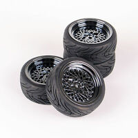 4X 1:10 Rubber Tire Wheel Rim  Flat Racing Set For HSP HPI RC On Road Car 10362