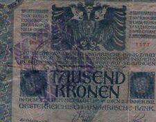 FIUME 1000 KRONEN KORONA 1915 1918 CITTA DI FIUME 605) Consiglio Nazionale RARE