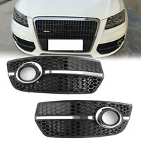 1Pair Front Bumper Grill Fog Light Lamp Covers Trim For Audi Q5 2009-2011 New/A5
