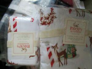 Pottery Barn Kids Rudolph red nosed flannel Christmas twin duvet 1 standard sham