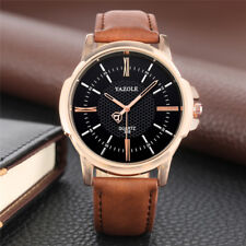 YAZOLE Men's Analog Quartz Watch Business Wristwatch Leather Band Alloy Case