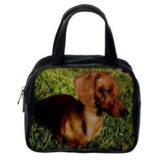 TAN DACHSHUND DOG PUP Puppy WOMENS LEATHER BAG HANDBAG 99329177
