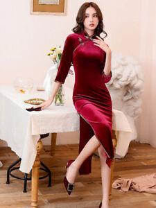 Women Velvet Cheongsam Qipao 3/4 Sleeve Wine Dress Chinese Style Long Dress