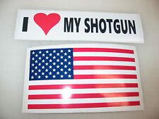 I LOVE MY SHOTGUN Car Window Decal Bumper Sticker + FREE USA American Flag