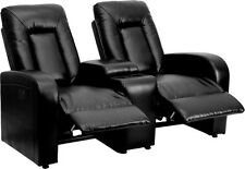 ECLIPSE SERIES 2-SEAT POWER RECLINING BLACK LEATHER THEATER SEATING UNIT