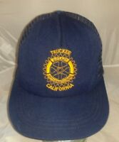Vtg Rotary International Logo Blue Trucker Mesh Hat Snapback Made in USA A3