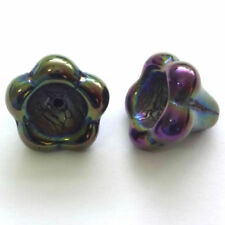 Green Glass Flower Jewellery Making Beads