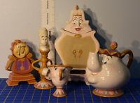 Disney Beauty & Beast Mrs. Potts 5 pc Tea Set 10th year Porcelain Figurines