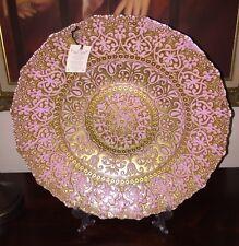 Turkish Handmade Art Glass Centerpiece Bowl Platter Plate Pink Gold Detailing