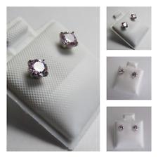 New Titanium Silver Cubic Zirconia Pink Stone Stud Round Earring Set 4mm