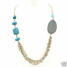 Chunky Chains & Beads Necklace, Silver/Blue, BN