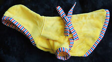 Canine Plush Hooded Coat Small Toy Dog Yellow w/ Red White & Blue Trim Bow Snaps