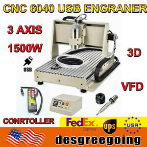 USB 3 Axis CNC 6040 Router Engraving Machine 1.5KW 3D Milling Drilling Machine