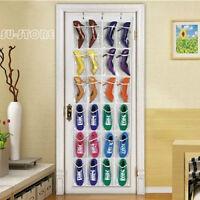 Clear 24 Pocket Shoe Storage Rack Over The Door Hanging Organizer Holder Set SU