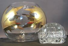 Vintage Clear glass with gold leaf pattern rose bowl and Cambridge glass frog