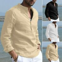 Mens Baggy Cotton Linen Stand Collar Tops Long Sleeve Button Retro Solid T-Shirt