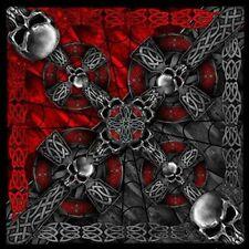 "Celtic Cross with Gothic Skulls 21"" x 21"" Bandana #1010"