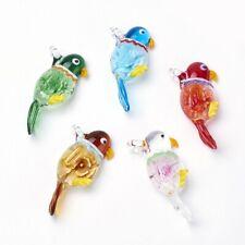 1 Box Handmade Lampwork Big Parrot Inner Flower Pendants Mixed Color 59x27x12mm