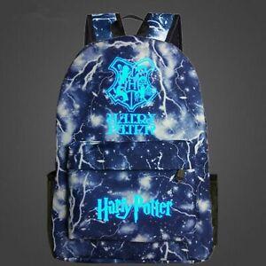 Large Blue&Black HARRY POTTER Glow In The Dark Backpacks School Bags