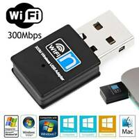 300Mbps USB WiFi Adapter Dongle Wireless Receiver Portable Network for Laptop PC