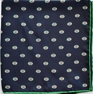 New Auth GUCCI INTERLOCKING G LOGO Printed 100% SILK Pocket Square Handkerchief