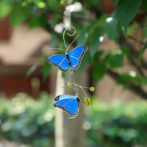 Blue Butterfly Stained Glass Exquisite Home Suncatcher Panel Outdoor Gift