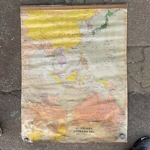 Genuine Vintage 1949 Canvass School Wall Hanging - Australia South-East Asia Map