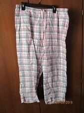 Alfani Intimates Plaid Lounge Pants XL 100% Cotton Drawstring Waist 36 Inseam 26