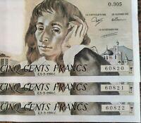 Suite de 3 Billets 500 francs PASCAL 1 - 2 - 1990 O.305 numéros consécutifs NEUF