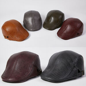 Men Genuine Leather Flat Cap Newsboy Gatsby Baker Cabbie Golf Beret Hat UK