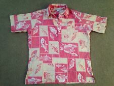 Mark Raysten Malihini Vintage Hawaiian Shirt Men's Large L Fish Quarter button