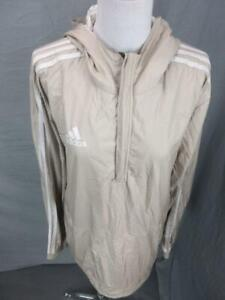 Adidas Size M Mens Brown Athletic Long Sleeve 1/2 Zip Hooded Pullover Shirt
