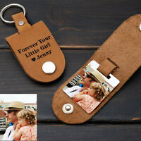 Personalised Photo Keyring in Leather Custom Daddy Keychain Portrait Key Chain