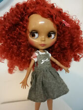 Blythe Nude Doll from Factory Jointed Body Black Skin Copper Red Curly Hair