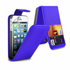 BLUE Leather Flip Case Cover with Card Slots&clip for Apple iPhone 4/4S UK SELLE