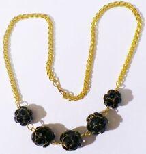 collier boule de strass noir facette chaine épis bijou vintage couleur or * 4869