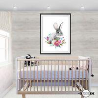 Nursery Print, RABBIT print, Girls wall prints, Woodland prints,Bunny Print,RABB