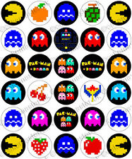 30 x PacMan Retro Pac-Man Party Edible Rice Wafer Paper Cupcake Toppers