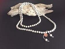 FREE POSTAGE White Howlite Bead Charm Necklace - 96cm - Stress, Strength, Health