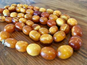 Antique Natural Baltic Amber Egg Yolk Butter Scotch Butterscotch Necklace 42 gr