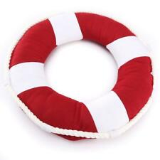 Life Buoy Mediterranean Coast Guard 40cm Pillow Sofa Cushion Home Decor- Red